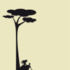 ext_709301: Girl sitting under tree, cream and black (Default)