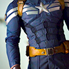 jamie: closeup of male body from thigh to shoulders, actor chris evans in cpt america costume (*dorito steve)