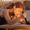 skieswideopen: Terminator, Sarah Connor digging to a table with her knife (T2: Sarah Connor, TSCC: Sarah Connor)
