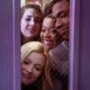 thingswithwings: whole community group all smooshed into a doorway making silly faces (comm - whole group happily smooshed)