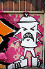 thatabbygirl: graffiti art of an anthropomorphized spray paint can, scowling (spray can)
