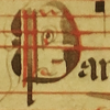 hokuton_punch: Medieval picture of a face drawn within a capital letter. (manuscript face)