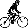 bicycling: a silhouette of a woman riding a bicycle (long-haired cyclist)
