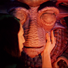 softestbullet: Aeryn cupping Pilot's cheek. He has his big eyes closed. (FFIX/ surprise)