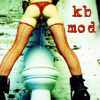 kink_bingo_mod: a woman in red knee-high fishnets and a thong peeing into an open toilet (mod watersports)