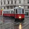europe_transport_museums: Preserved motor-trailer tram set near Schwarzenbergplatz, Vienna (Default)
