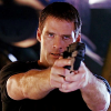 skieswideopen: John Crichton pointing a gun (Farscape: Crichton aiming)
