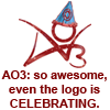 elf: AO3: So awesome, even the logo is celebrating (with logo with party hat) (Celebrating AO3)