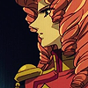 laceblade: Juri in her red uniform from the Utena movie, profile view of her face, black backgroundd (Utena: noble Juri)