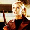 originalpuck: Buffy holding the scythe and glaring upwards. (pissed buffy)