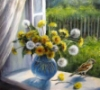 cledon: Yellow and white dandelions in vase on windowsill (Dandelions)