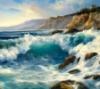 cledon: Ocean waves pounding on rocks (Ocean Waves)