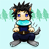 ext_9747: Zack Fair as a puppy, holding a frisbee in his mouth. (evil sephiroth kitty)