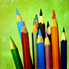 pensnest: collection of coloured pencils in a pot (Rainbow pencils)
