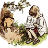 pensnest: Pooh stuck in Rabbit's front door while Christopher Robin reads to him (Pooh in a tight place)