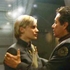 frith_in_thorns: Adama with his hands on Starbuck's shoulders (BSG Kara)