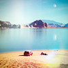 lovelythings: a photo of a red car by a lake and some people having a picnic (Default)