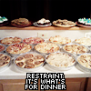 "loveandwar: A counter covered with a dozen different pies and cakes, and the caption ""Restraint: It's what's for dinner."" (But I was following the recipe!)"