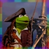 rainbow: manipulated image of kermit the frog dressed as jack sparrow on board the black pearl (is this the sweet sound that calls the y)