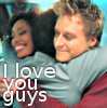 darkemeralds: Gina Torres and Alan Tudyk being hugged by Sean tMaher on the set of Firefly. Gina's smile is brilliant. (Alan Tudyk)