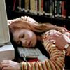 charcoalfeathers: Geek Willow sprawled out asleep across a keyboard (geek)