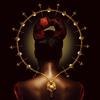 amihan: medium shot of model with back turned and wearing a gold necklace, hair is tied with a piece of red string, and a sort o ([fashion] circle)