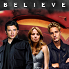 scrollgirl: clark, lois, oliver with s-shield background; text: believe (dcu smallville)
