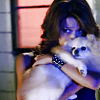 muccamukk: Kono hugging a small fluffy dog and looking adorable. (H5-0: Pet cuddles)