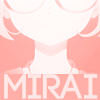 halfemptyglasses: partial picture of Mirai's face with her name below (glasses of doom)