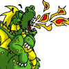 pensnest: little cartoon dragon coughing up a flame (Dragon li'l flame)