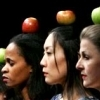 onyxlynx: Left profile of 3 women and 3 apples (on their heads), differently hued. (Love 3 Apples)