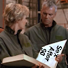 "thothmes: Sam Carter holding a large open book, page says ""Sex afer 50""  O'Neill peering in to see. (Sex After 50)"
