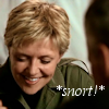 thothmes: Sam Carter head down and smiling in reaction to Jack O'Neill.  Legend: Snort! (Snort - Proving Ground)