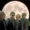 thothmes: SG-1 lined up in front of a huge bright moon (Team by Moonlight)