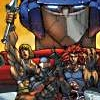 sharpest_asp: Optimus's face in back of He-Man, Lion-O, and Snake Eyes (Fandom: Cartoons)