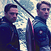 biffelderberry: Steve and Bucky staring at the camera (Stucky)