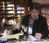 writerlibrarian: Castle writing and researching from pilot episode (Nathan Filion castle)