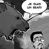 "luciazephyr: Matt from Three Panel Soul, with a bear about to eat him: ""Je suis un bear!"" ([3PS] everything is worse with bears)"