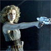 labellementeuse: an icon of river song, one arm stretched out, holding/pointing a gun ready to fire. (dw bamf)