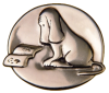 "kshandra: 1"" diameter sterling silver pin, depicting a James Thurber illustration of a dog reading a book (Thurber)"