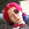 me_and: Photo of me with an eyepatch and bright red and blue hair (hair, Grant, code)