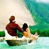 istia: backs of sawyer and kate of lost in a boat (lost | boat)