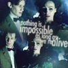 rhivolution: concerned Eleventh Doctor and Idris, with text: 'nothing is impossible as long as we're alive' (unfettered and alive: Doctor/Idris)