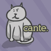 """celli: a cartoon gray fat cat with """"Cante."""" next to her (Cante.)"""