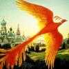 pensnest: Brilliant orange firebird flies up above a landscape of distant towers (Firebird)