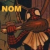 baxter2814: Spidey noms a chicken leg (bat cat)