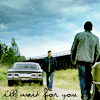 "anaraine: Sam walking to Dean and the Impala with the text, ""I'll wait for you"". ([spn] i'll wait for you)"