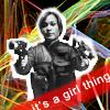 "revena: Heavily-armed Teyla with words ""it's a girl thing"" (Teyla - girl gun thing)"