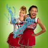 talumin: Brittany and Santana from Glee throwing slushies (glee, brittany, santana)