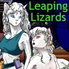 elizabethmccoy: Two white, felinoid girls look worriedly at each other. Caption: Leaping Lizards (Leaping Lizards)